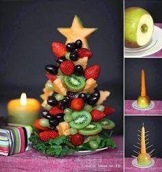 Idée de décoration de table de fêtes - Un sapin de Noël en fruits !