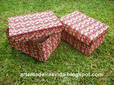 Arte, Madeira e Vida: Caixa de papelão encapadas com tecido 3
