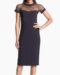 gotta find this dress Maggy London Illusion Yoke Crepe Sheath Dress (Regular & Petite) available at Nordstrom Midi Dresses Online, Size 14 Dresses, Dress Online, Summer Dresses For Women, Dresses For Work, Dress Work, Body Lingerie, Midi Dress Sale, Robes Midi