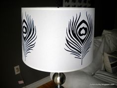 How to paint Peacock feather  lampshade.  From Junkin' Junky
