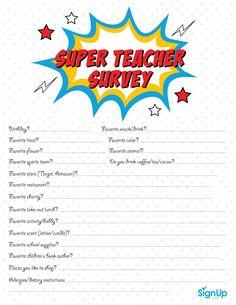Teacher Survey, Teacher Morale, Parents Room, Parents As Teachers, Room Mom, Teacher Appreciation Week, Teacher Gifts, Staff Gifts, Teacher Questionnaire