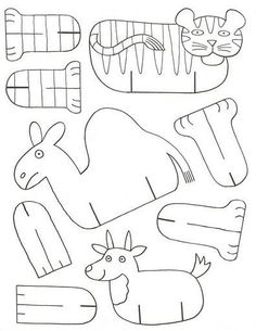 Imprima estes lindos animais para a criançada colorir, recortar e montar.     Jacaré, cobra, lagartixa, minhoca e hipopótamo para imprimir...