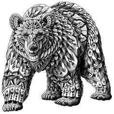 Эскиз тату медведя с орнаментами