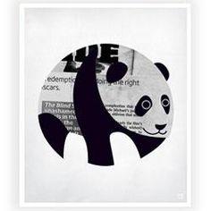 Panda News B/W Art Print by Nicholas Girling