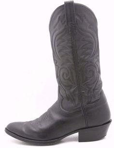Sanders Mens Cowboy Boots Size 8 D Black Kipskin Supple Leather Western NICE! #ShoehagShoes