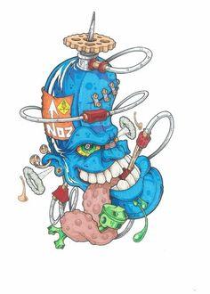 Gas Mask Art, Masks Art, Tattoo Design Drawings, Cool Art Drawings, Graffiti Drawing, Graffiti Art, Cartoon Pics, Cartoon Art, New Age Tattoo