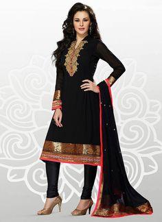 Neon Black Georgette Churidar Suit