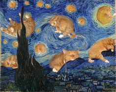Vincent van Gogh, The Starry Night, true version, aka The Furry Night, by Fat Cat Art Vincent Van Gogh, Fat Cats, Cats And Kittens, Funny Kittens, Adorable Kittens, Kitty Cats, Funny Dogs, Ragdoll Kittens, Bengal Cats