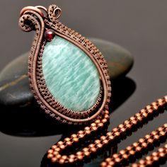 Amazonite and Garnet Wire Wrap Copper Pendant - Nicole Hanna Jewelry