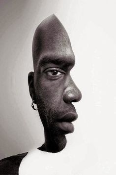 ILLUSN.com: Front or Side Face of a Man - Illusion Picture - Photography and Computer Graphics used to create this illusion, Mans face actually photographed is front view while the Cutout is  made as a path to create a side view keeping the eye, Nose, Lips elements same...