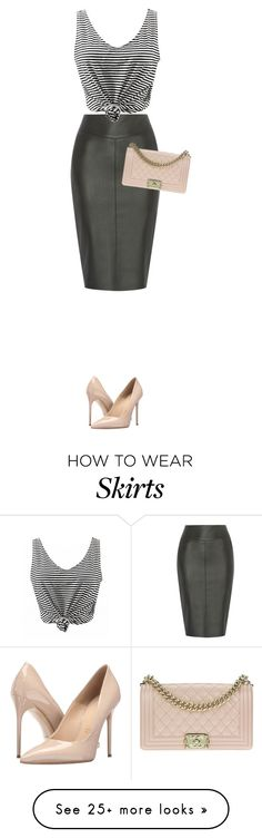 """leather pencil skirt that I neeeed!"" by maja-el-aly on Polyvore featuring Massimo Matteo and Chanel"
