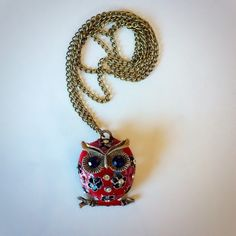 Red Owl Necklace NWOT Jewelry Necklaces