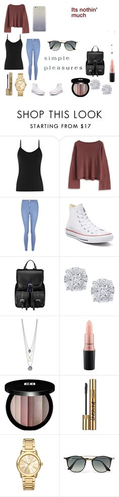 """""""It's Nothin' Much"""" by thaliagracehyperion on Polyvore featuring Chicwish, New Look, Converse, Aspinal of London, Effy Jewelry, MAC Cosmetics, Edward Bess, Yves Saint Laurent, Michael Kors and Ray-Ban"""