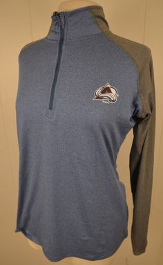 534b4f94 New Colorado Avalanche NHL Hockey Half-zip Long-sleeve Shirt Women's Large  Blue #