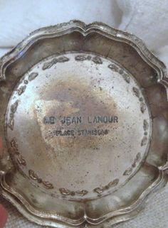 French bistro bill tray...in silver etched with L'Amour FleaingFrance Brocante