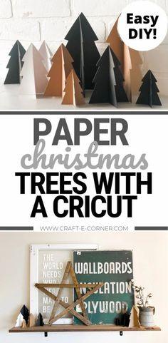 Christmas Tree Paper Craft, Cricut Christmas Ideas, Paper Christmas Decorations, Christmas Craft Projects, Christmas Vinyl, Diy Christmas Snowflakes, Cricut Air 2, Cricut Craft, Cricut Explore Projects