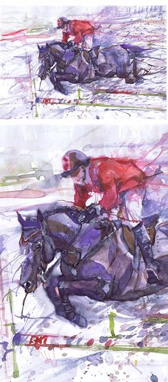 Horse art print, painting watercolor, rider, horse jumping, watercolour, equestrian decor, horse racing, gift for horse lover, dressage gift  jumping