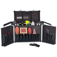 You're good to go with the Metrovac Tack Box Dog Grooming Kit. Not only can you lock it, but this kit also offers 17 roomy pockets to store. Dog Grooming Shop, Dog Grooming Supplies, Grooming Salon, Pet Supplies, Tack Box, Cat Dog, Dog Salon, My Horse, Horse Gear