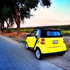 Instagram photo by @luigiquinonez #smartcar #yellow #fortwo #cornfield #road