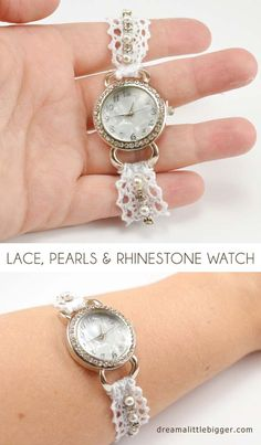 DIY Crafts You Can Make with Lace | Cool DIY Ideas for Fashion, Decor, Gifts, Jewelry and Home Accessories Made With Lace | Lace Pearl and Rhinestone Watch DIY | http://diyjoy.com/diy-crafts-ideas-with-lace