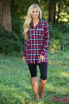 This classic plaid tunic dress is simply a must-have for fall - you'll be keeping it close all season long!