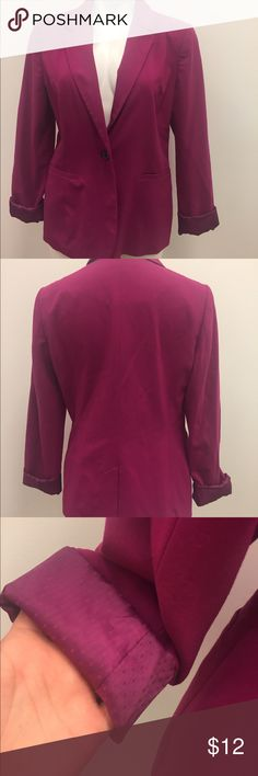 Apartment 9 fuchsia spring blazer Spring is here and this fuchsia blazer from the apt 9 collection at Kohls is a perfect way to embrace the season. From its bright fuchsia purple color to its polkadot lined sleeve cuff it says happy spring. It is a size 12 and it's in good condition with normal wear and some pilling. #Spring #Future #Pink #Blazer #Chic Apt. 9 Jackets & Coats Blazers