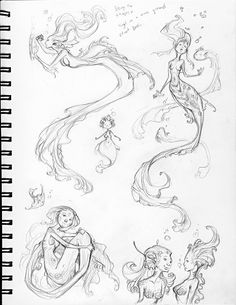 mermaid sketches