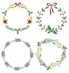 Christmas Circle Borders Wreaths Frames vector image on VectorStock Christmas Doodles, Christmas Drawing, Christmas Paintings, Circle Drawing, Circle Painting, Modern Christmas Cards, Christmas Frames, Bullet Journal Christmas, Circle Borders