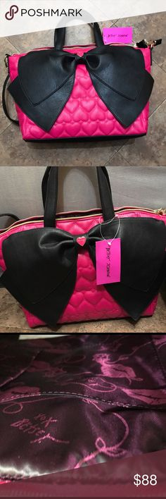 "👛😍Betsey Johnson Bag👛😍 Accept Offers!! Nylon lining Top zipper closure, Double handles with 6"" drop Detachable adjustable crossbody strap with 23"" drop Front oversized signature bow with toned heart detail Fully lined interior with 2 slip pockets and wall zip pocket Handbag: 17"" x 11"" x 5"" inches (WxHxD) Betsey Johnson Bags Shoulder Bags"