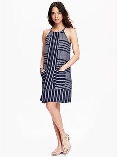 Women's Striped Linen-Blend Shift Dresses | Old Navy / navy stripe M tall