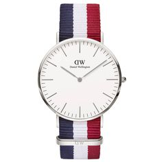 Montree Classic Cambridge, Daniel Wellington bracelet tissu tricolore bleu-blanc-rouge