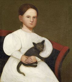 Folk art portrait attributed to Zedekiah Belknap (1781-1858), Girl in a White with Cat, probably Vermont. Oil on canvas.