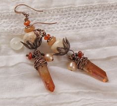 Peach blossom earrings: wire wrapped crystal by StudioEgallery