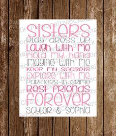 Sisters Wall Art Decor Sisters Best Friends by PersonalizedChalk, $10.00