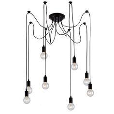 Edison Bulb Chandelier 8 Pendants, Matte Black