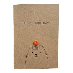 Cat Birthday Cards, Birthday Puns, Happy Birthday Cards Handmade, Cute Happy Birthday, Simple Birthday Cards, Birthday Card Design, Animal Birthday, Birthday Ideas, Cat Cards