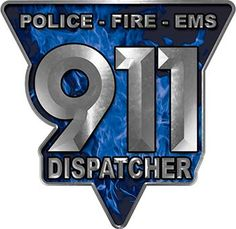 911 Emergency Dispatcher Police Fire EMS Decal in Blue Inferno