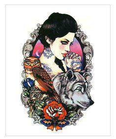 Woman Wolf Owl Tattoo