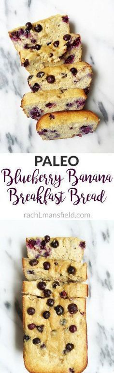 Super easy and delicious Paleo Blueberry Banana Breakfast Bread. Made with almond flour, fresh blueberries and other healthy and delicious ingredients!