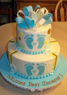 Bobbie's Cakes and Cookies: Baby Boy Shower Cakes