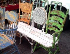 Relaxshacks.com: TEN simple salvaged chair and bench projects that are OUT-THERE!--LOVE!!