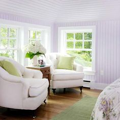 What a refreshing color palette. Overstuffed chairs are always in style.