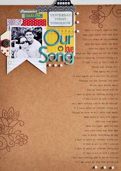 "Cute scrapbook page ""Our love Song"" by Sasha Farina. Couple Scrapbook, Wedding Scrapbook, Scrapbook Ideas For Couples, Scrapbook Page Layouts, Scrapbook Cards, Scrapbook Photos, Our Adventure Book, Paper Tags, Boyfriend Gifts"
