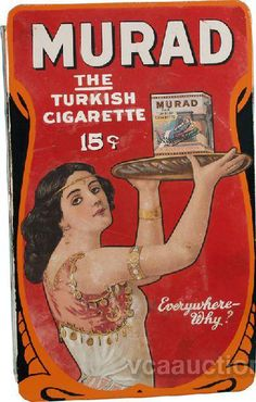 Flanged sign for Murad Cigarette displaying a Turkish woman holding a tray with a package of Murad cigarettes.