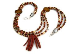 African Tribal Brown Red Vintage Beads Beaded by JustAspire, $30.00