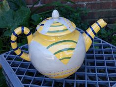 1 Hand Painted Gray Earthenware Ceramic Teapot OOAK by TerraTreasures on Etsy