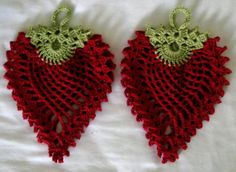 Very clever! Set of Two Crocheted Strawberry Potholders / Doily's. $10.00, via Etsy. http://www.etsy.com/listing/88950195/set-of-two-crocheted-handmade-2?ref=usr_faveitems_uid=11803973#