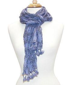 Look what I found on #zulily! Blue Fleur-de-Lis Tassel Scarf by Tickled Pink #zulilyfinds