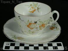 Antique c1887-1911 Dainty Yellow Flower Porsgrund Porcelain Cup and Saucer (DD)
