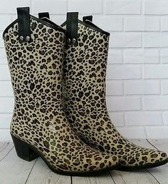 Ladies Capelli New York Cowboy Rubber Boots 8 Leopard Rodeo Cowgirl Western